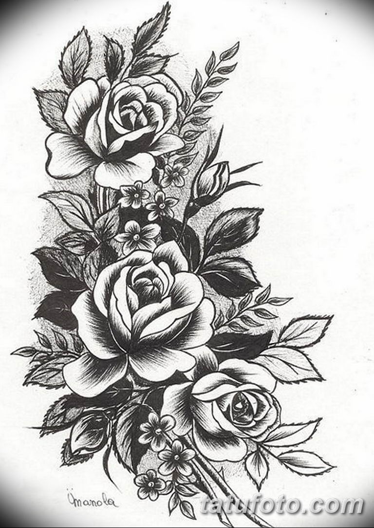 эскиз розы для тату девушке 08.03.2019 №011 - tattoo sketches - tatufoto.com