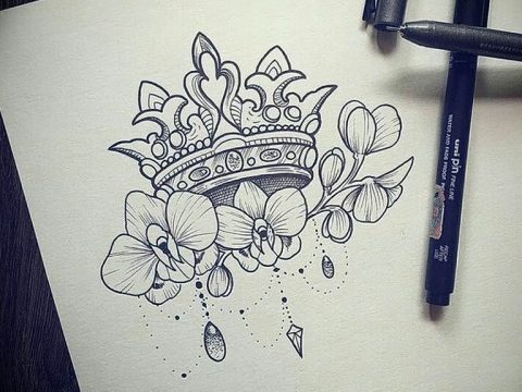 эскиз тату для девушки 08.03.2019 №010 - tattoo sketches for girls - tatufoto.com