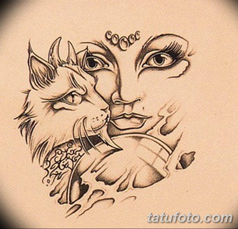 эскиз тату кошка для девушек 08.03.2019 №003 - tattoo sketches - tatufoto.com