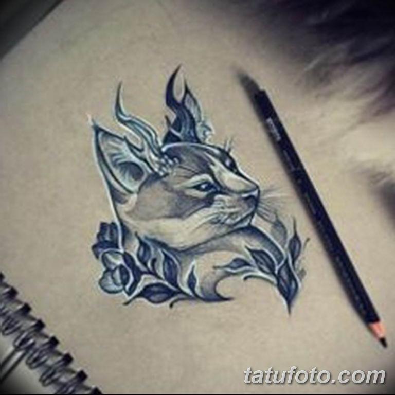 эскиз тату кошка для девушек 08.03.2019 №005 - tattoo sketches - tatufoto.com