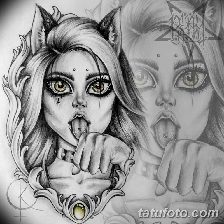 эскиз тату кошка для девушек 08.03.2019 №006 - tattoo sketches - tatufoto.com