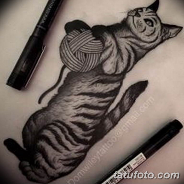 эскиз тату кошка для девушек 08.03.2019 №019 - tattoo sketches - tatufoto.com