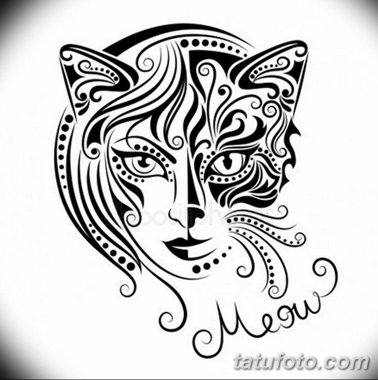 эскиз тату кошка для девушек 08.03.2019 №021 - tattoo sketches - tatufoto.com