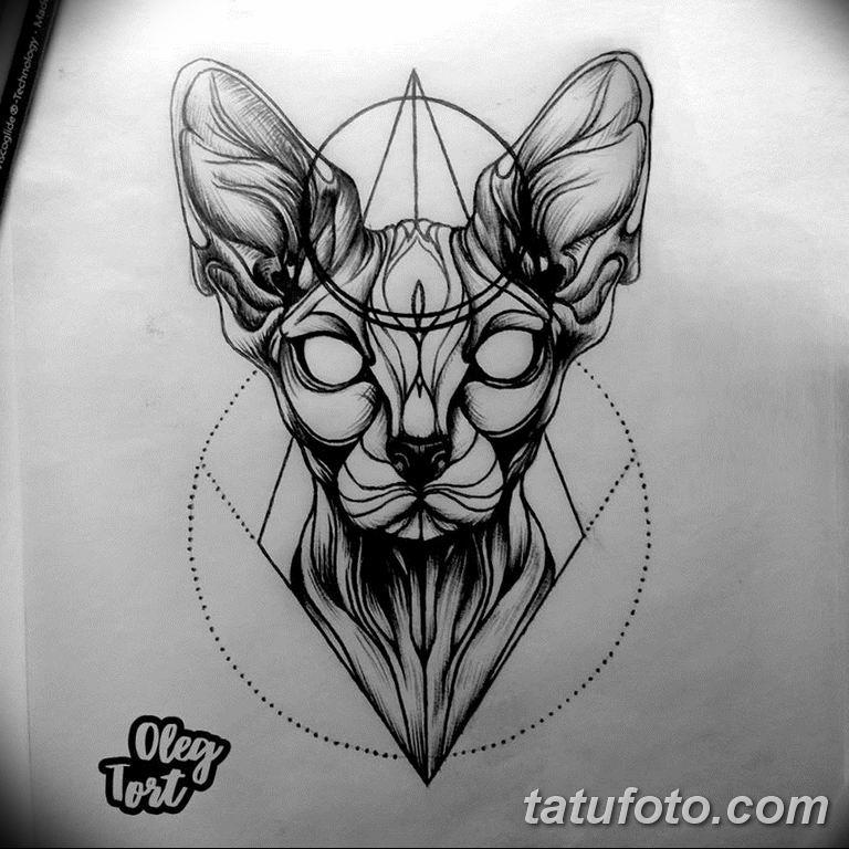 эскиз тату кошка для девушек 08.03.2019 №025 - tattoo sketches - tatufoto.com