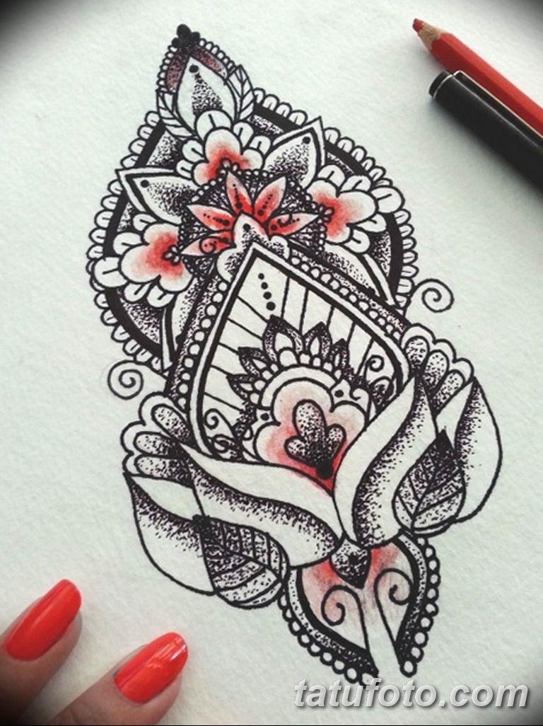 эскиз тату мандала для девушек 08.03.2019 №003 - tattoo sketches - tatufoto.com