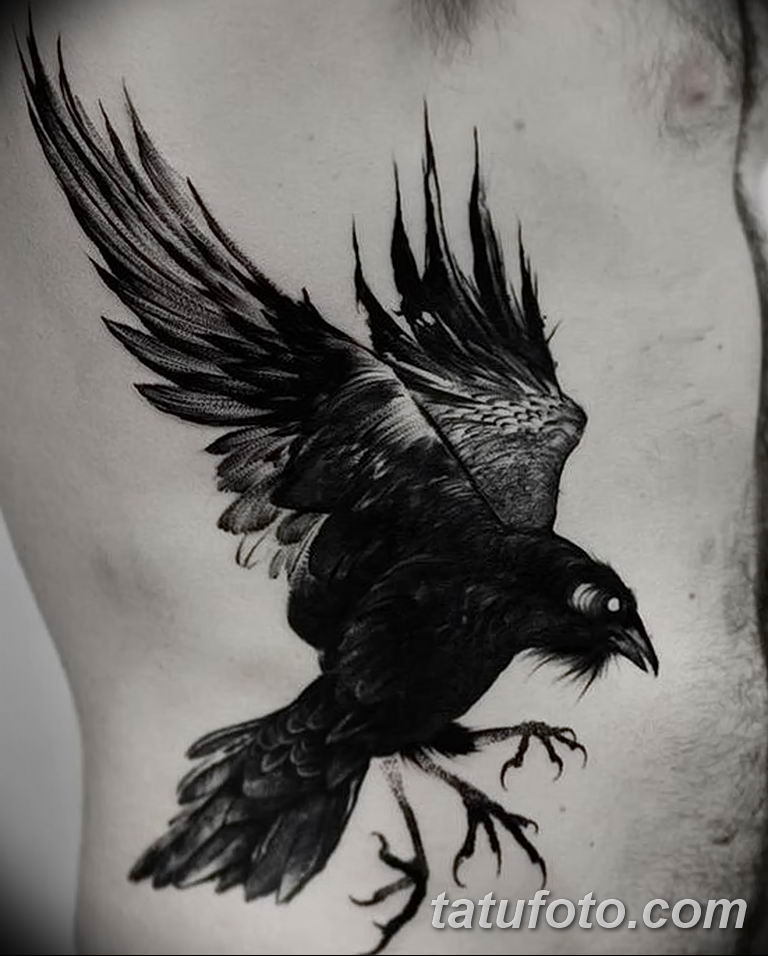 Фото тату черный ворон 15.04.2019 №014 - ideas black raven tattoo - tatufoto.com