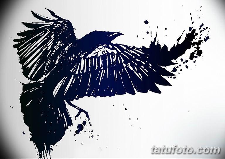 Фото тату черный ворон 15.04.2019 №039 - ideas black raven tattoo - tatufoto.com