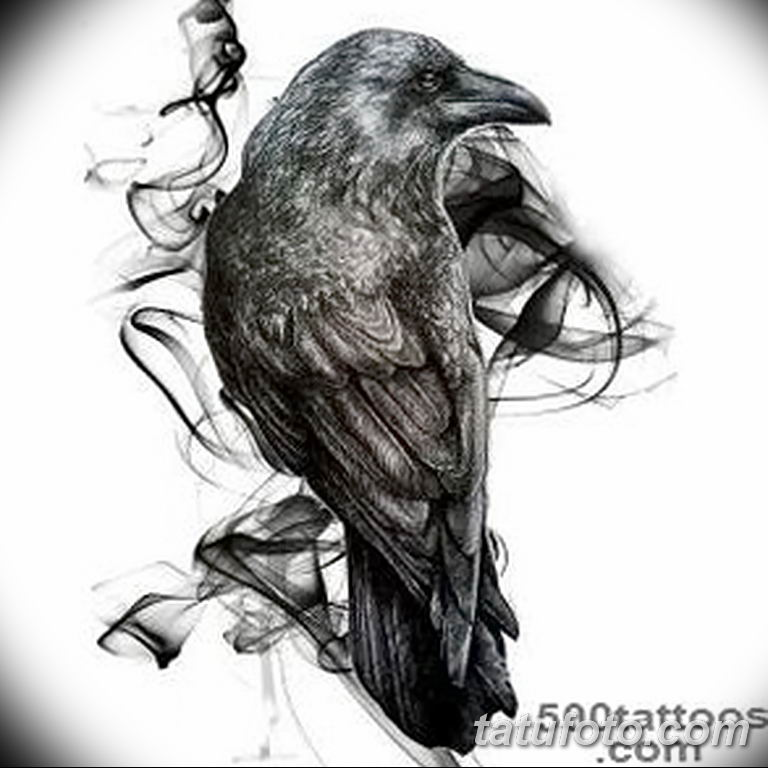 Фото тату черный ворон 15.04.2019 №084 - ideas black raven tattoo - tatufoto.com