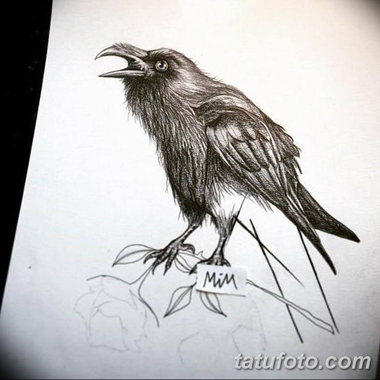Фото тату черный ворон 15.04.2019 №089 - ideas black raven tattoo - tatufoto.com