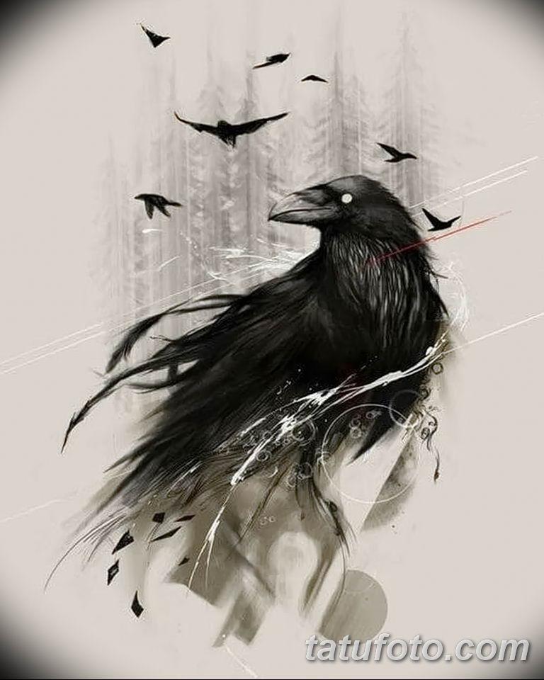 Фото тату черный ворон 15.04.2019 №127 - ideas black raven tattoo - tatufoto.com