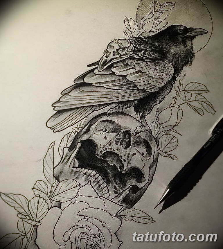 Фото тату черный ворон 15.04.2019 №133 - ideas black raven tattoo - tatufoto.com