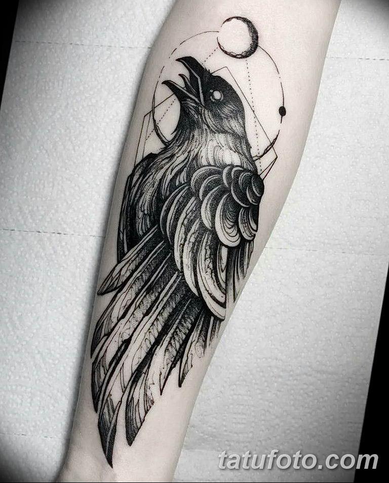 Фото тату черный ворон 15.04.2019 №171 - ideas black raven tattoo - tatufoto.com