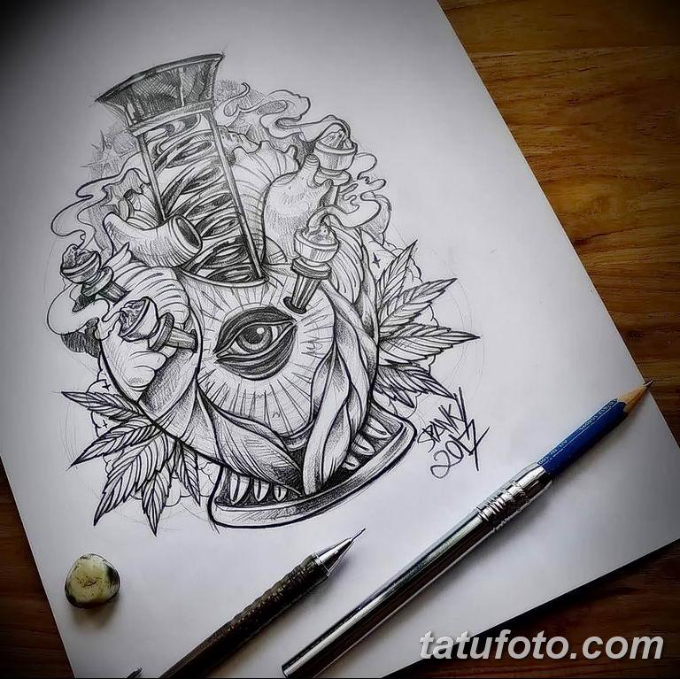 фото эскизы тату марихуана (конопля) 27.04.2019 №009 - tattoo marijuana - tatufoto.com