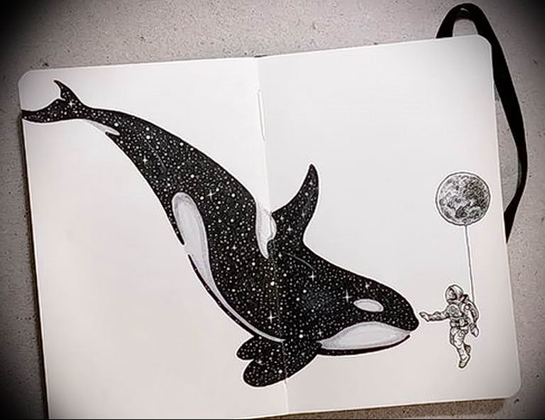 Эскиз для тату касатка 31.05.2019 №029 - sketch tattoo killer whale - tatufoto.com