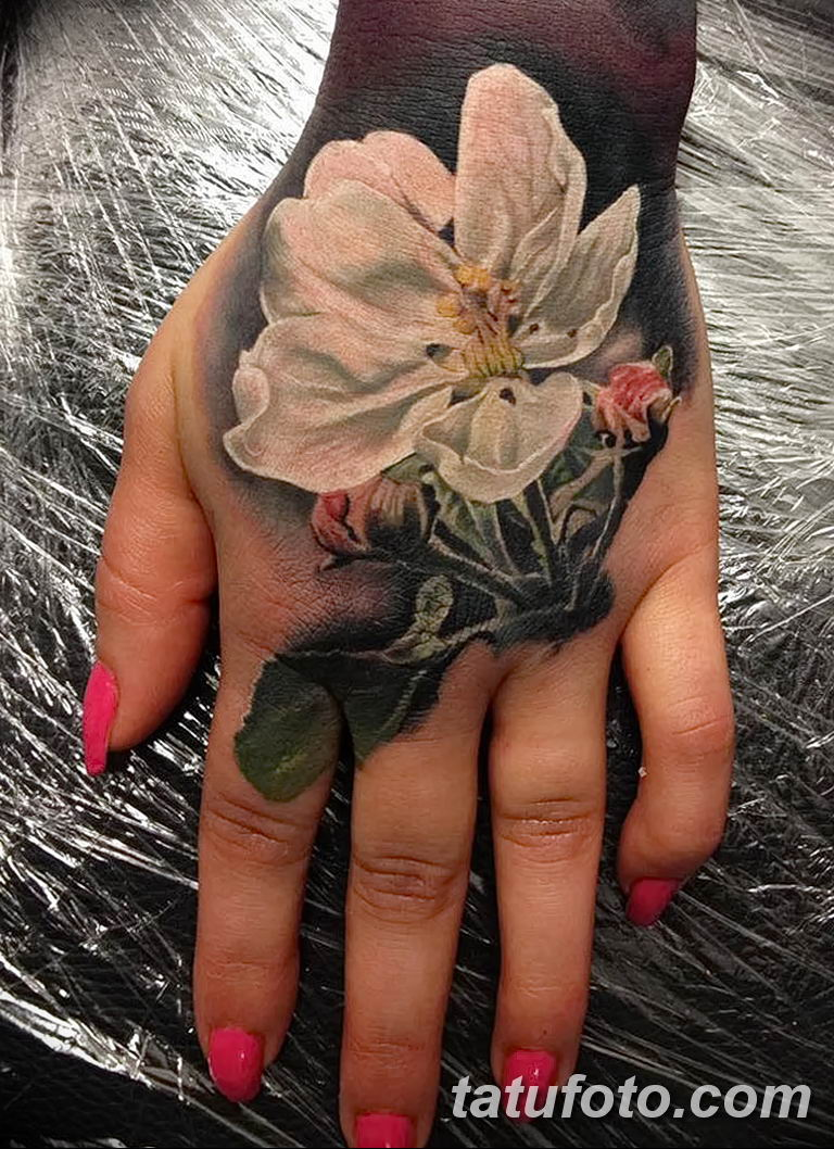 Фото тату белые цветы18.06.2019 №017 - tattoo white flowers - tatufoto.com