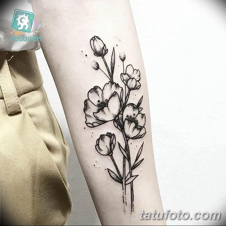 Фото тату белые цветы18.06.2019 №202 - tattoo white flowers - tatufoto.com