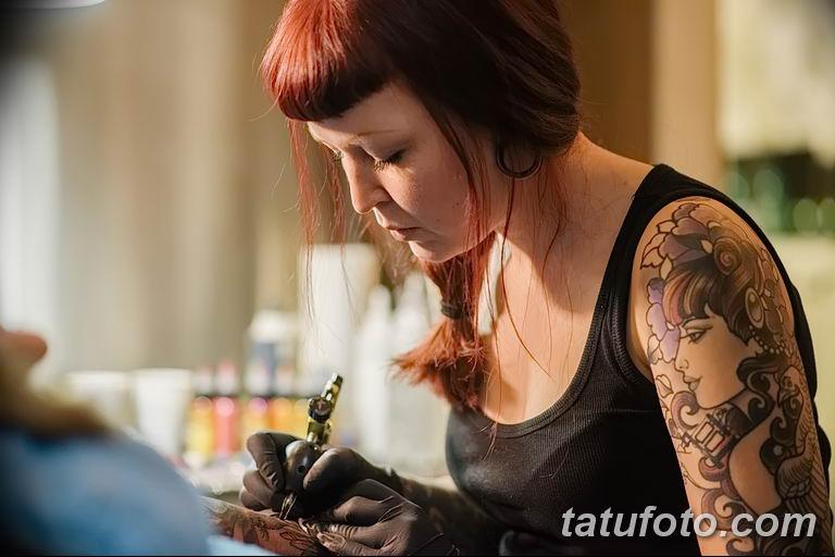 Фото тату мастер девушка 18.06.2019 №015 - tattoo master woman - tatufoto.com