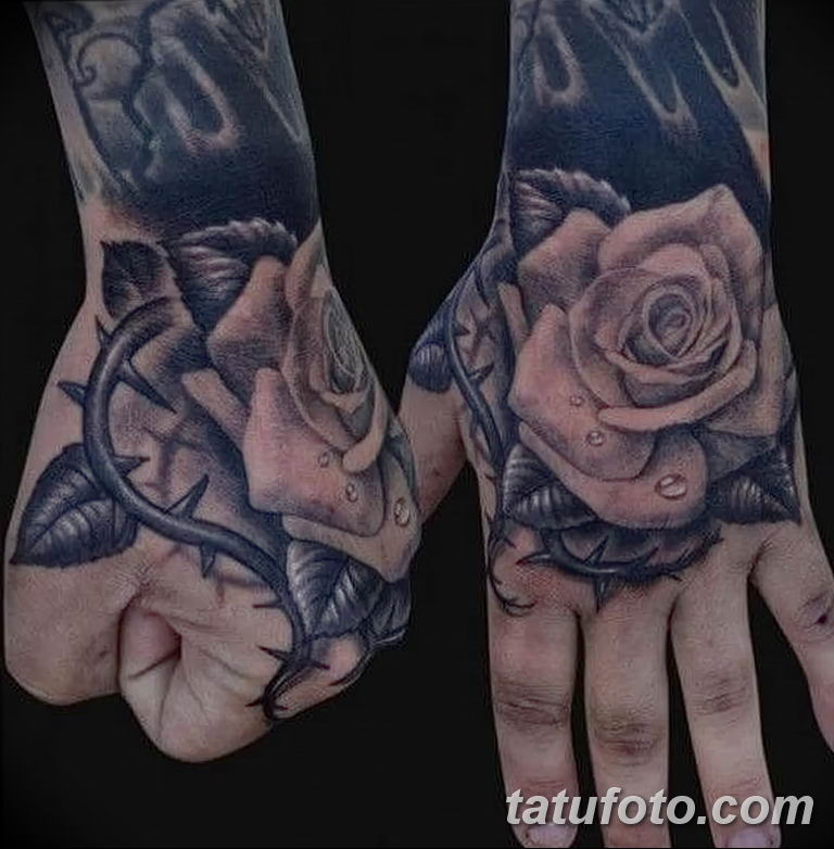 Фото тату роза с шипами 26.06.2019 №069 - spiked rose tattoo - tatufoto.com