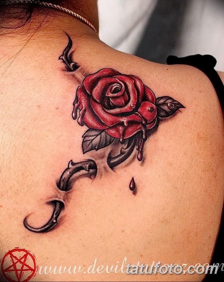 Фото тату роза с шипами 26.06.2019 №073 - spiked rose tattoo - tatufoto.com