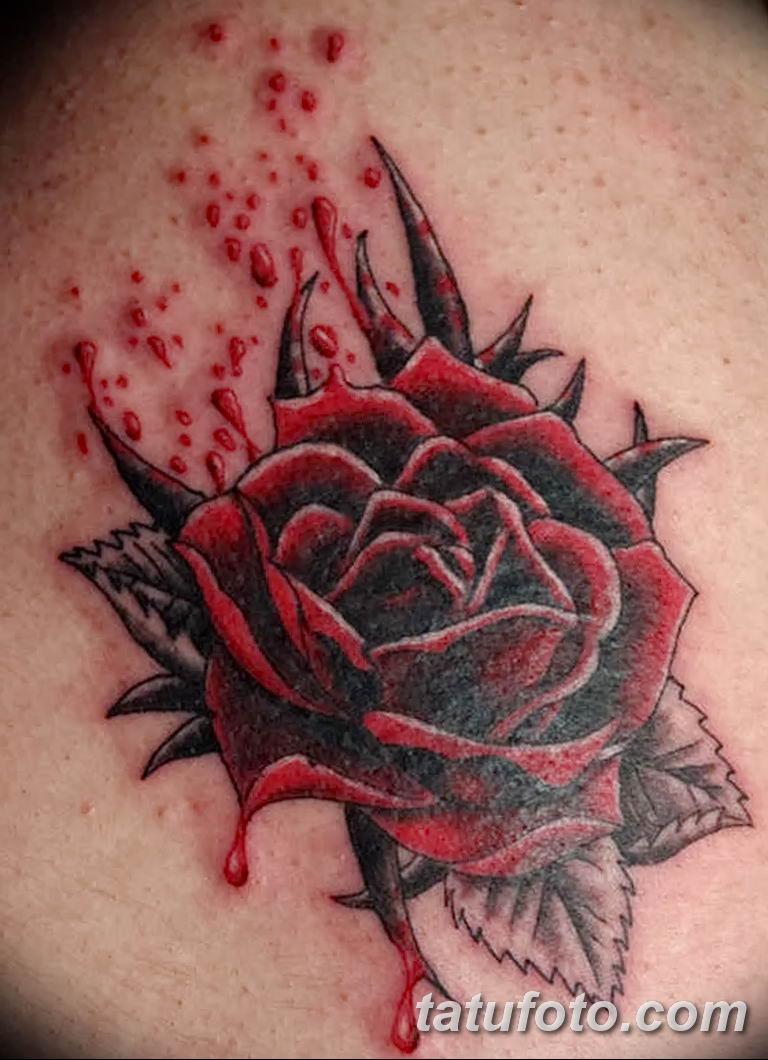 Фото тату роза с шипами 26.06.2019 №079 - spiked rose tattoo - tatufoto.com