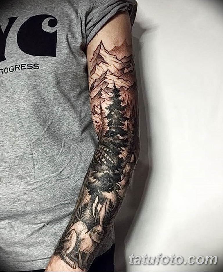 Фото тату рукав 11.06.2019 №008 - Tattoo sleeve - tatufoto.com
