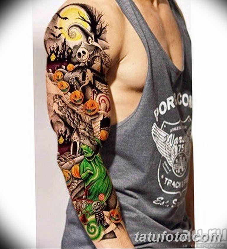 Фото тату рукав 11.06.2019 №009 - Tattoo sleeve - tatufoto.com