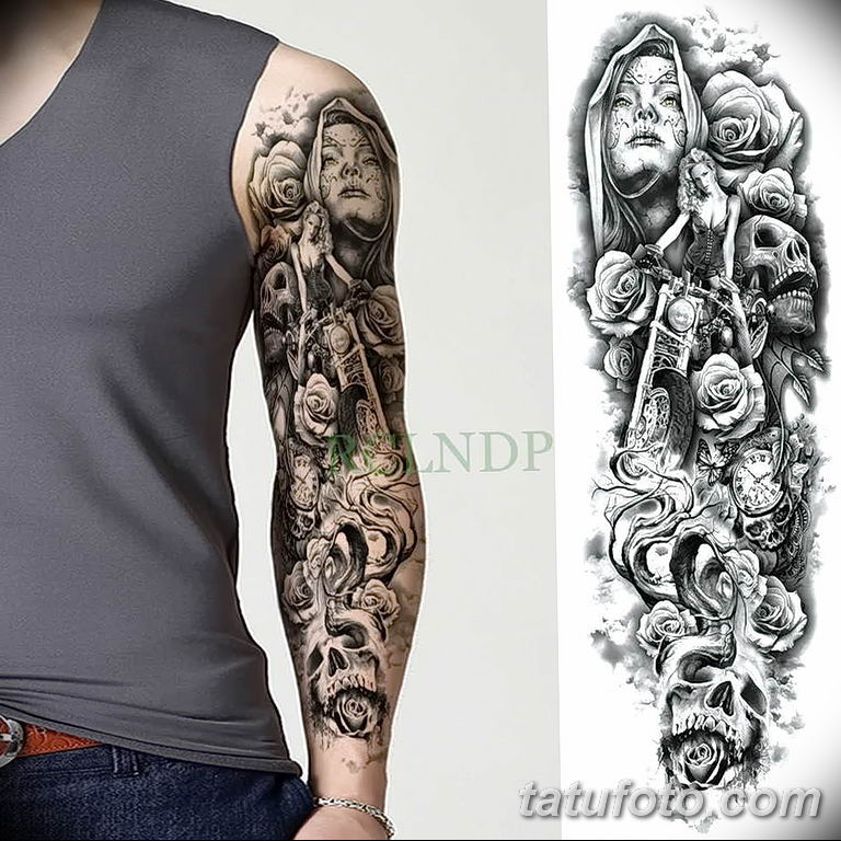 Фото тату рукав 11.06.2019 №024 - Tattoo sleeve - tatufoto.com