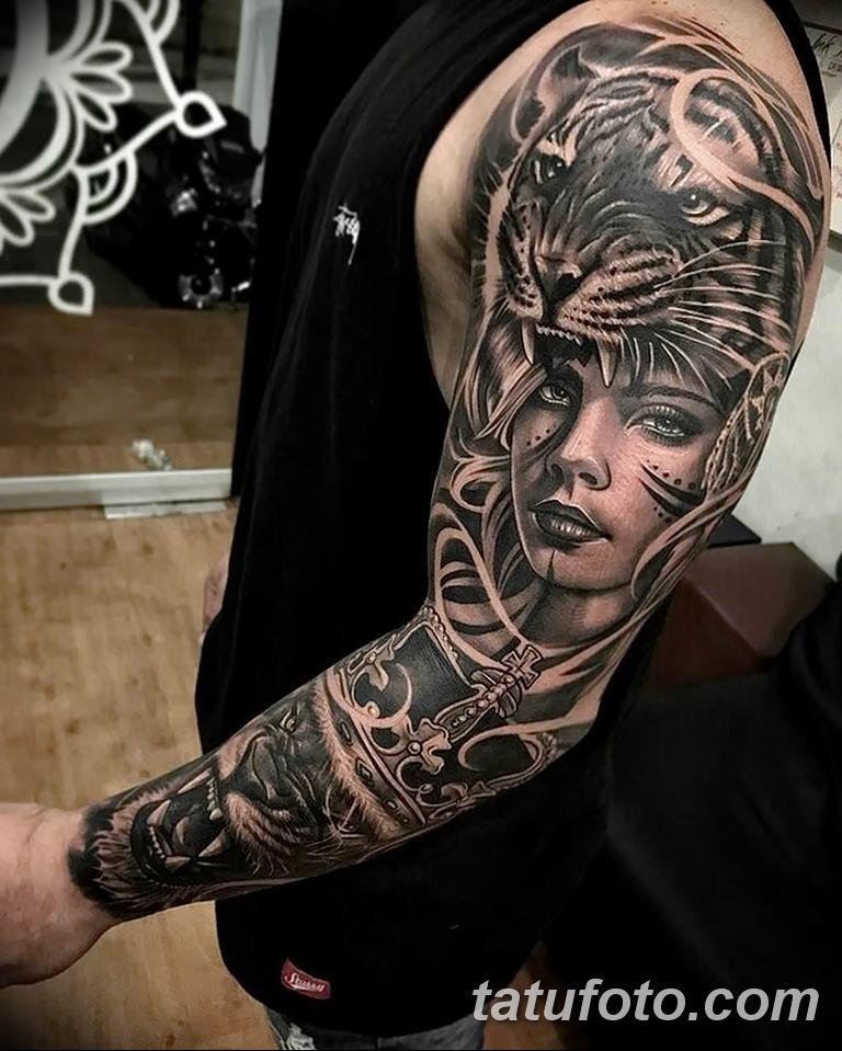 Фото тату рукав 11.06.2019 №026 - Tattoo sleeve - tatufoto.com