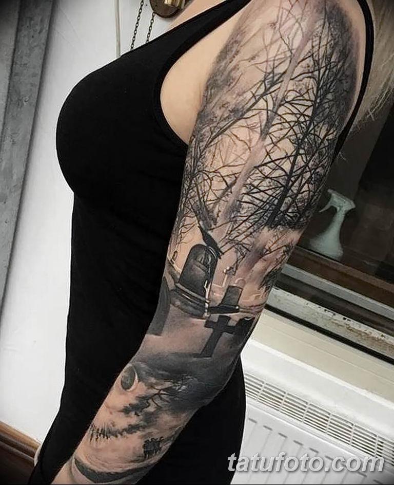 Фото тату рукав 11.06.2019 №037 - Tattoo sleeve - tatufoto.com