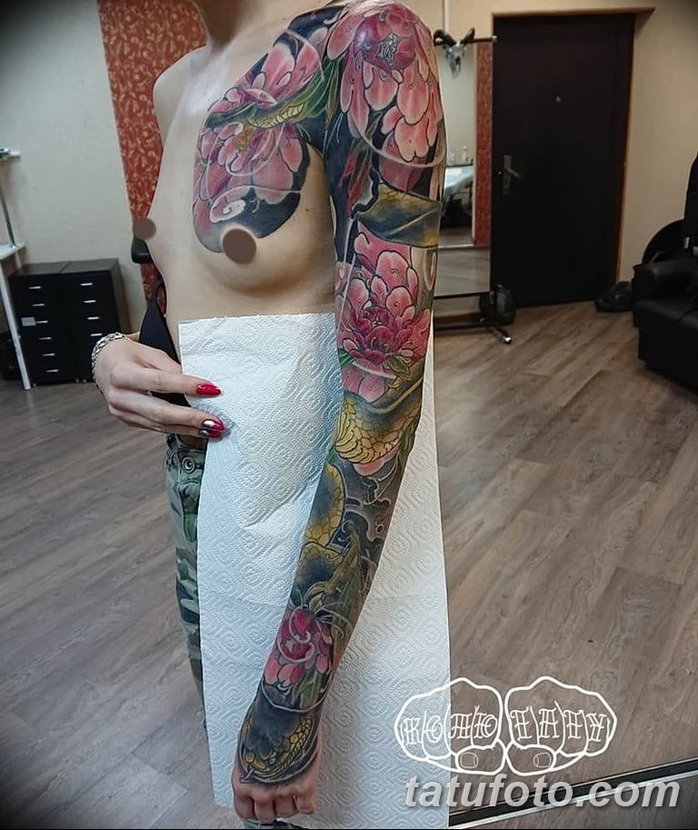 Фото тату рукав 11.06.2019 №064 - Tattoo sleeve - tatufoto.com