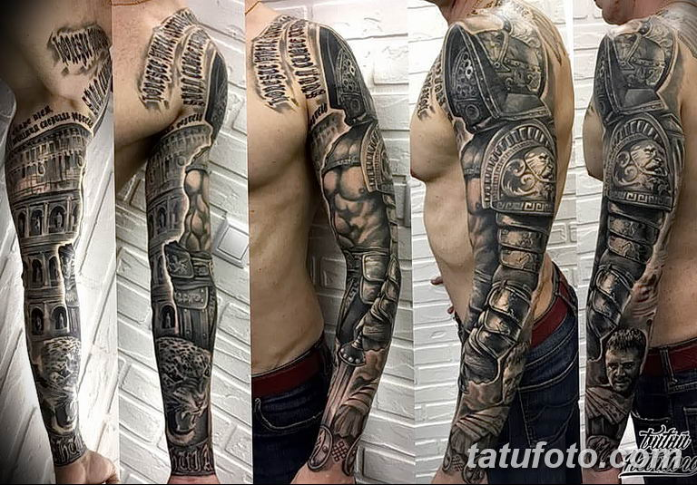 Фото тату рукав 11.06.2019 №077 - Tattoo sleeve - tatufoto.com