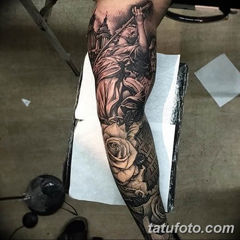 Фото тату рукав 11.06.2019 №118 - Tattoo sleeve - tatufoto.com