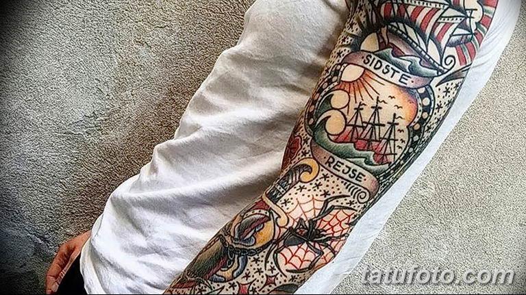 Фото тату рукав 11.06.2019 №120 - Tattoo sleeve - tatufoto.com