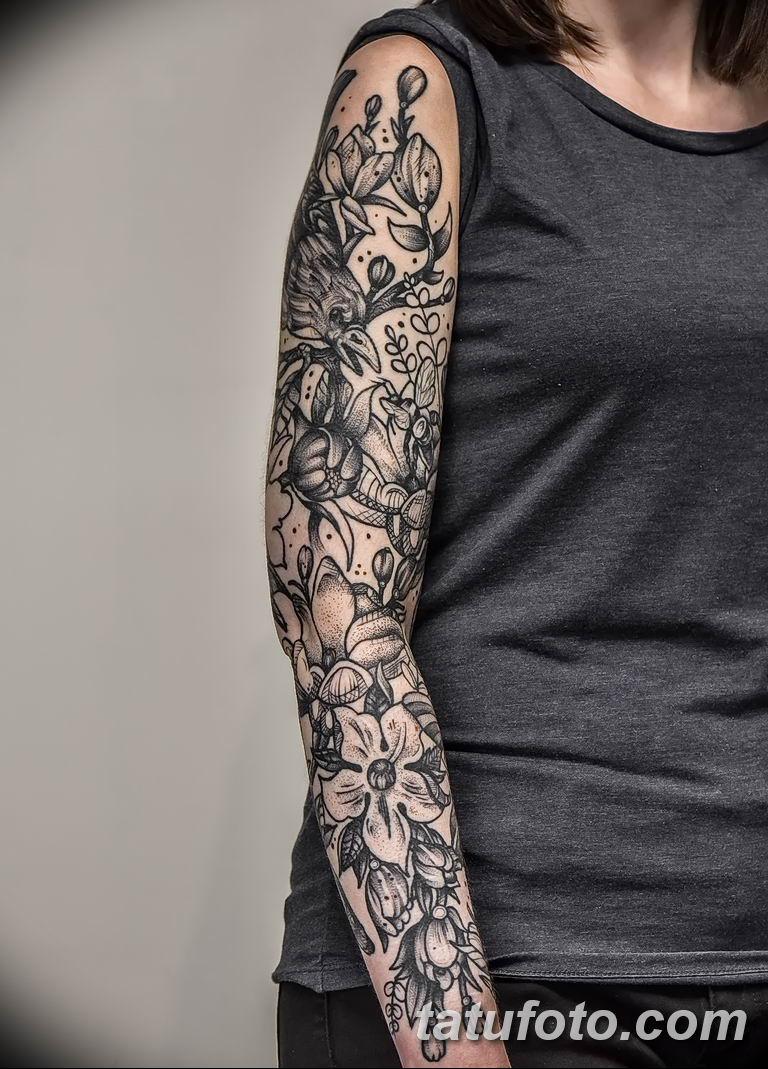Фото тату рукав 11.06.2019 №121 - Tattoo sleeve - tatufoto.com