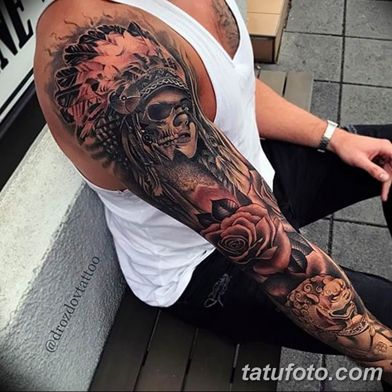 Фото тату рукав 11.06.2019 №167 - Tattoo sleeve - tatufoto.com