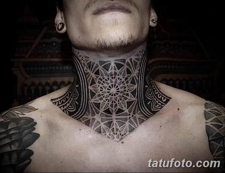 Фото орнамент на шее тату 10.07.2019 №001 - neck tattoo - tatufoto.com