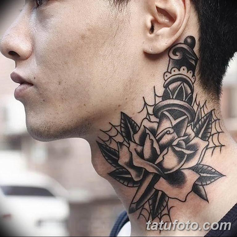 Фото орнамент на шее тату 10.07.2019 №002 - neck tattoo - tatufoto.com