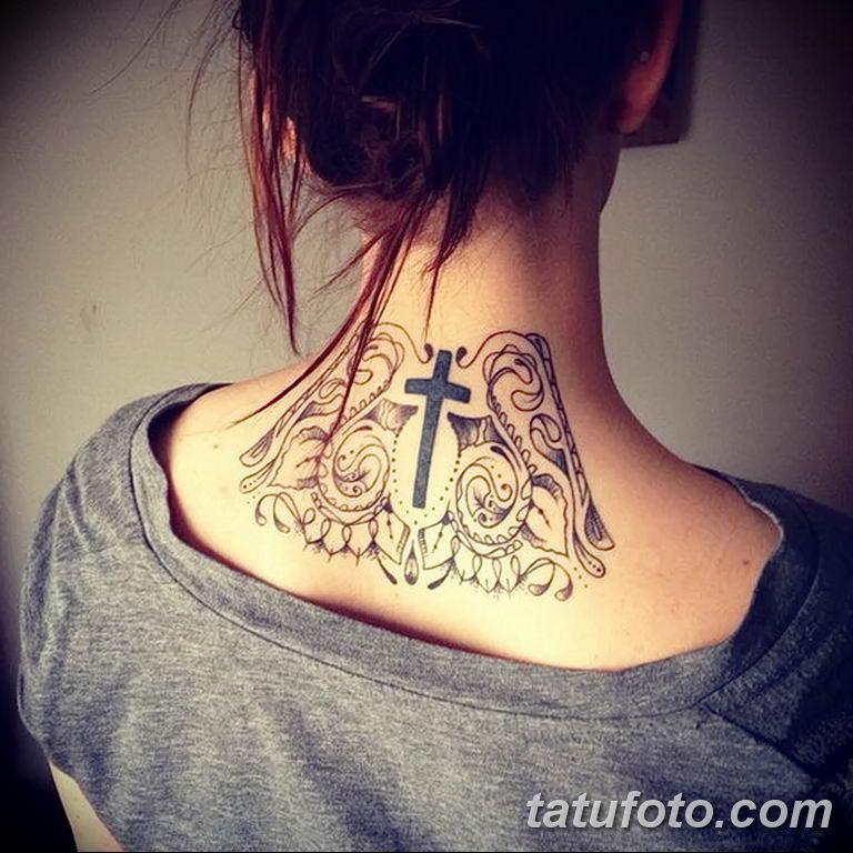 Фото орнамент на шее тату 10.07.2019 №010 - neck tattoo - tatufoto.com