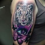 Фото тату белый тигр 28.07.2019 №081 - white tiger tattoo - tatufoto.com