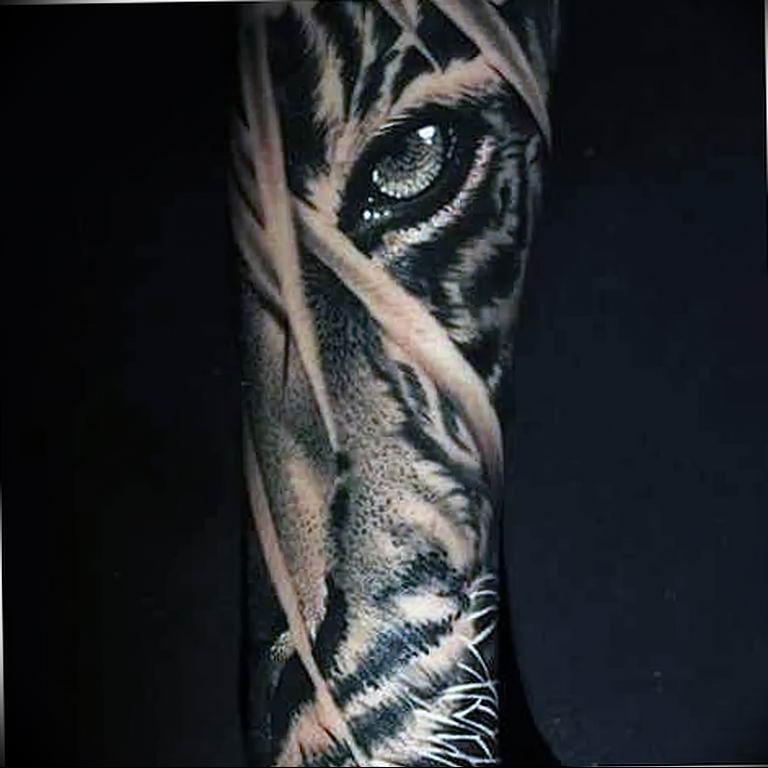 Фото тату белый тигр 28.07.2019 №091 - white tiger tattoo - tatufoto.com