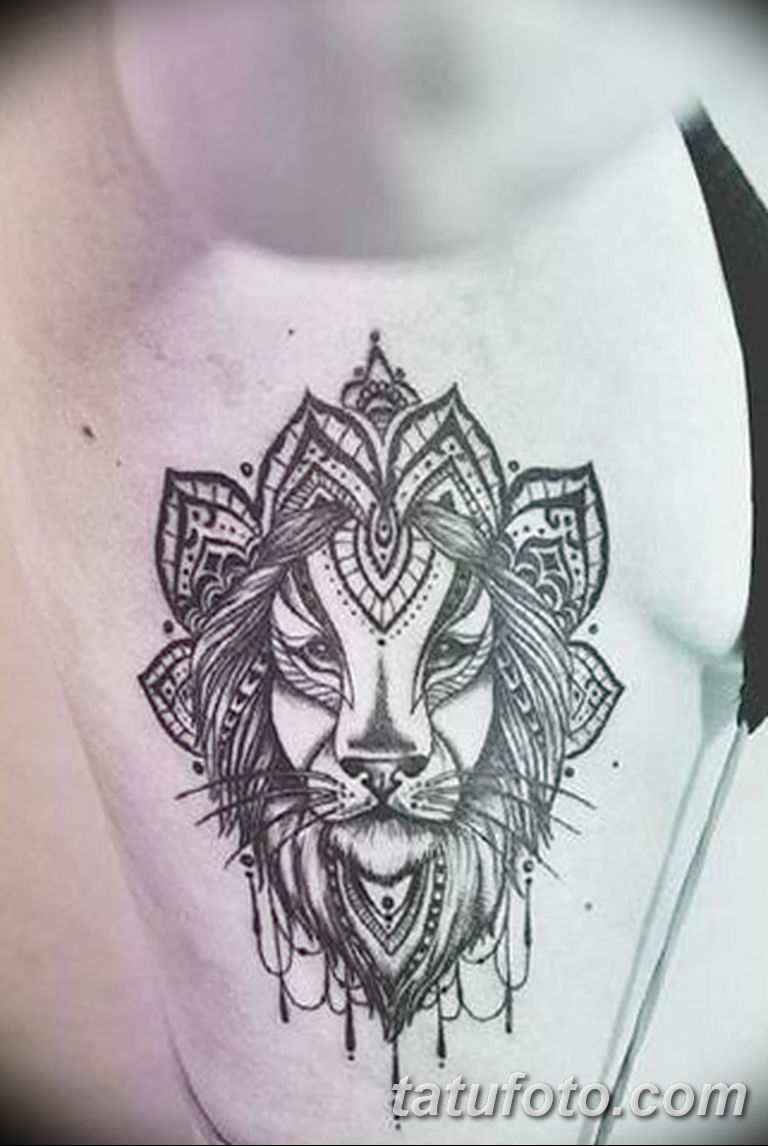 Фото тату орнамент лев 10.07.2019 №001 - tattoo ornament lion - tatufoto.com