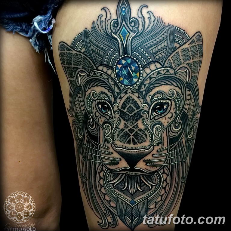 Фото тату орнамент лев 10.07.2019 №003 - tattoo ornament lion - tatufoto.com