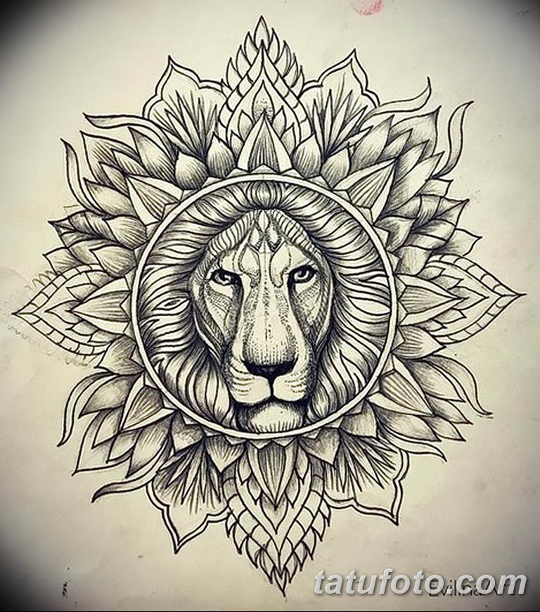Фото тату орнамент лев 10.07.2019 №007 - tattoo ornament lion - tatufoto.com