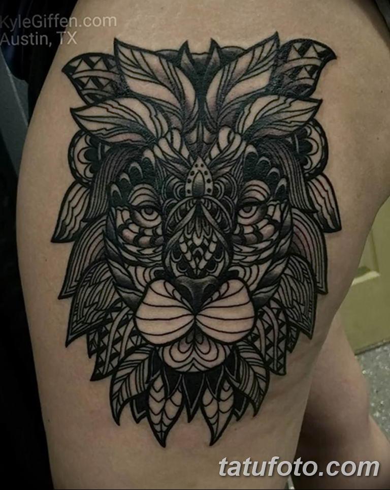Фото тату орнамент лев 10.07.2019 №008 - tattoo ornament lion - tatufoto.com