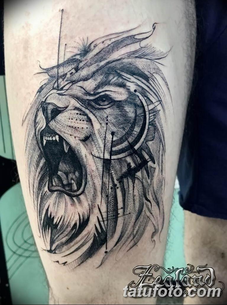Фото тату орнамент лев 10.07.2019 №014 - tattoo ornament lion - tatufoto.com