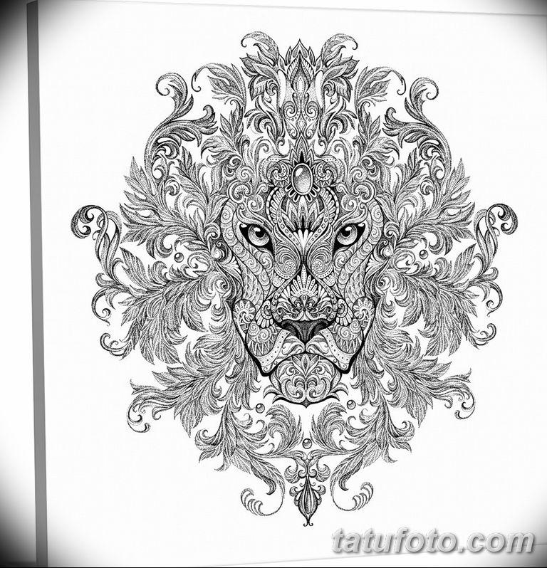 Фото тату орнамент лев 10.07.2019 №016 - tattoo ornament lion - tatufoto.com