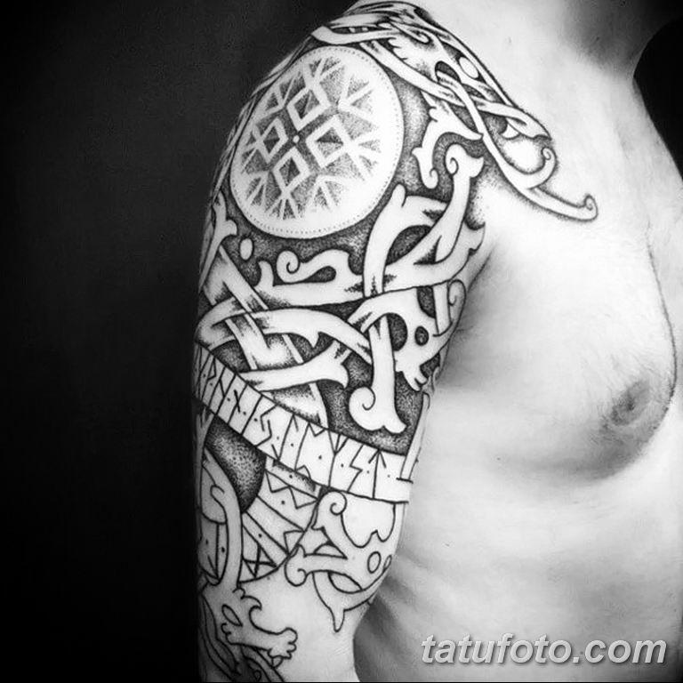 Фото тату орнамент на плече 10.07.2019 №006 - tattoo ornament on the shoul - tatufoto.com