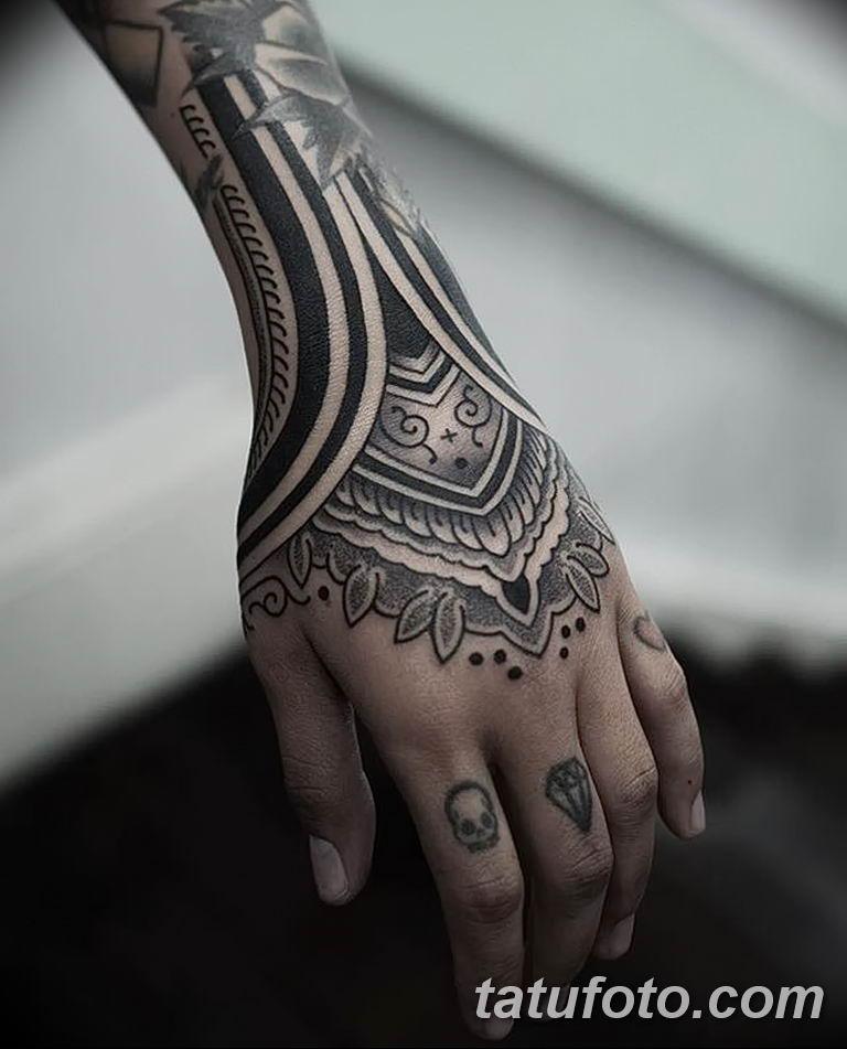 Фото тату орнамент на руке 10.07.2019 №012 - tattoo ornament on hand - tatufoto.com