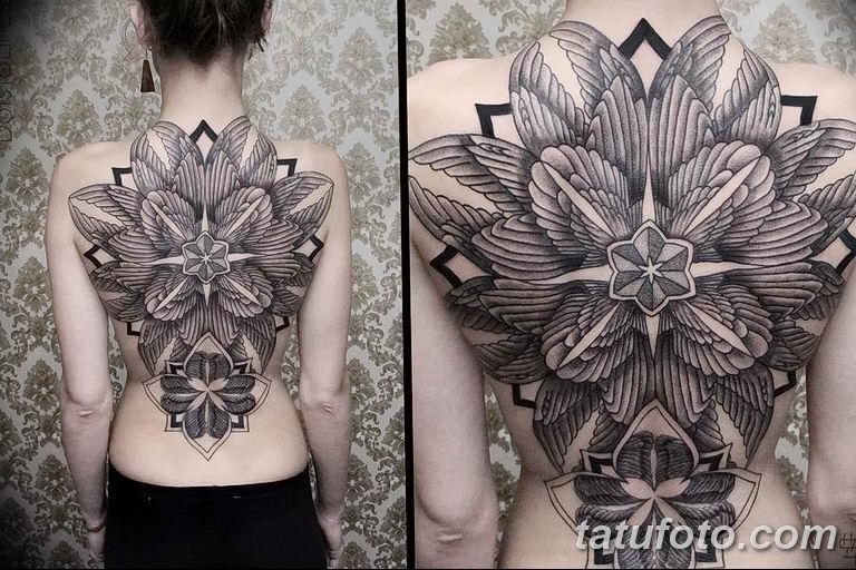 Фото тату орнамент на спине 10.07.2019 №008 - back tattoo ornament - tatufoto.com