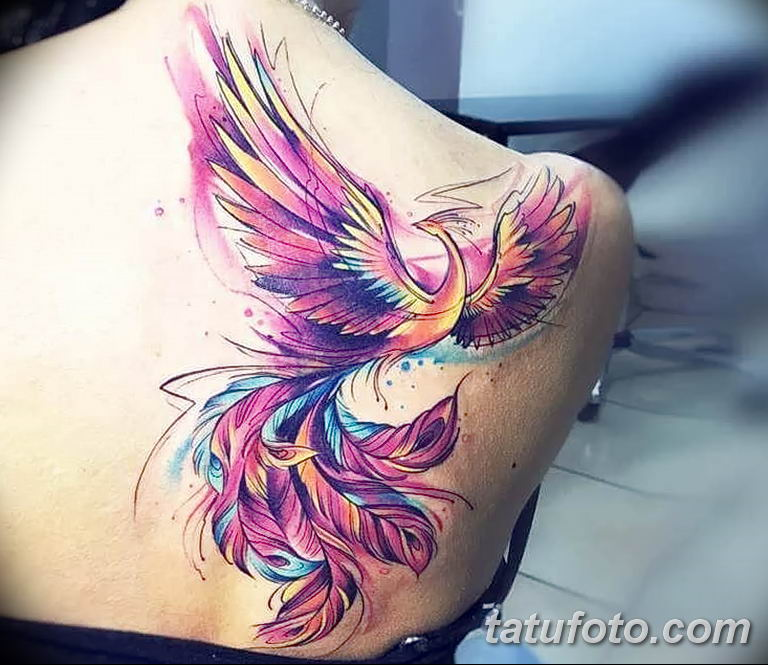 Фото тату птица феникс 18.07.2019 №001 - phoenix bird tattoo - tatufoto.com